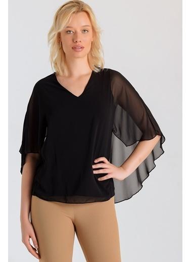 Jument V Yaka Bluz -Siyah Siyah